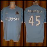2010-11 Manchester City Home Shirt Size 40 - Balotelli #45 - Forever Football Shirts
