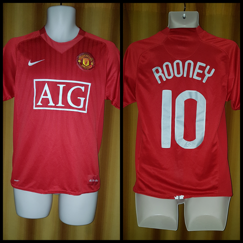 2007-09 Manchester United Home Shirt Size Small - Rooney #10
