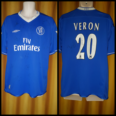 2003-05 Chelsea Home Shirt Size Large - Veron #20 (Signed Shirt) - Forever Football Shirts