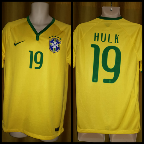 2014-15 Brazil Home Shirt Size Medium - Hulk #19