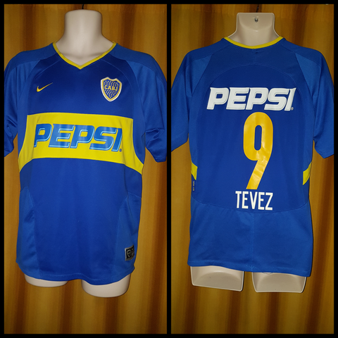 2003-04 Boca Juniors Home Shirt Size XL - Tevez #9 - Forever Football Shirts