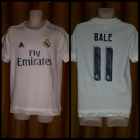 2015-16 Real Madrid Home Shirt Size Medium - Bale #11 - Forever Football Shirts