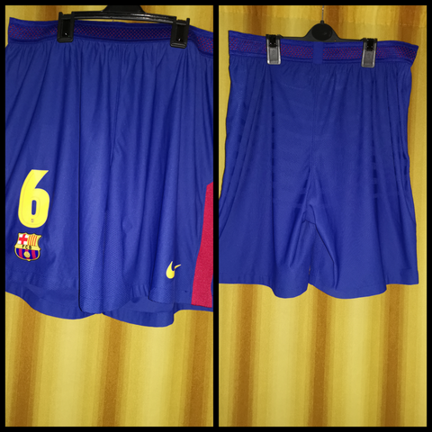 2017-18 Barcelona Home Shorts Size XL - #6