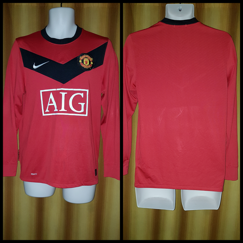 2009-10 Manchester United Home Shirt Size Small (Long Sleeve)