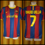 2010-11 Barcelona Home Shirt Size Medium - David Villa #7