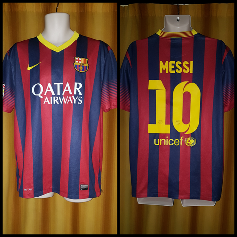 2013-14 Barcelona Home Shirt Size Large - Messi #10
