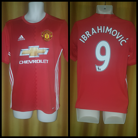 2016-17 Manchester United Home Shirt Size 15-16 Yrs - Ibrahimovic #9 - Forever Football Shirts