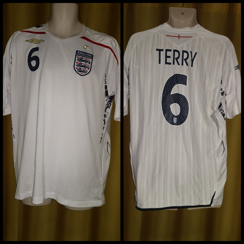2007-09 England Home Shirt Size Large - Terry #6
