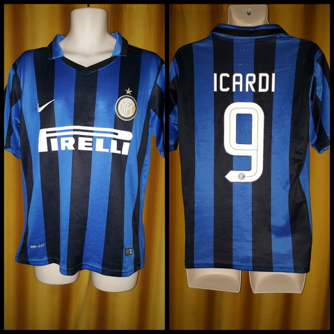 2015-16 Inter Milan Home Shirt Size Medium - Icardi #9 - Forever Football Shirts