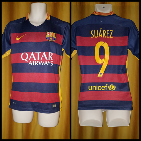 2015-16 Barcelona Home Shirt Size Small - Suarez #9
