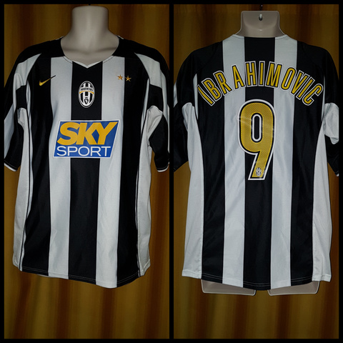 2004-05 Juventus Home Shirt Size Large - Ibrahimovic #9