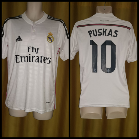 2014-15 Real Madrid Home Shirt Size Small - Puskas #10