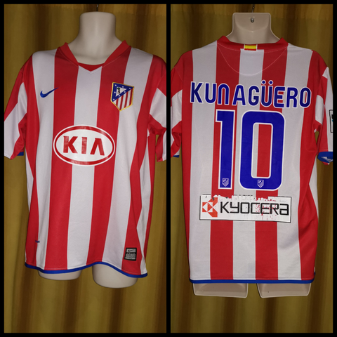new concept fdb3a 62b4c 2008-09 Atletico Madrid Home Shirt Size Small - Kun Aguero ...