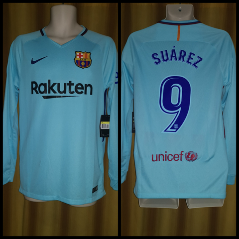 2017-18 Barcelona Long Sleeve Away Shirt Size Small (BNWT With Defects) - Suarez #9