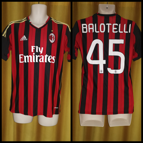 2013-14 AC Milan Home Shirt Size 15-16 Years - Balotelli #45