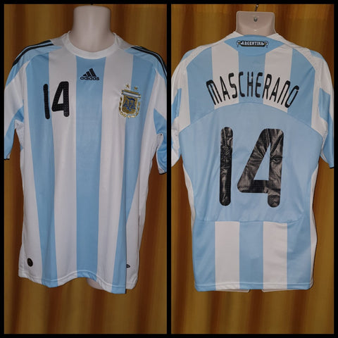 2007-09 Argentina Home Shirt Size Medium - Mascherano #14