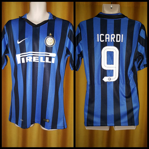 2015-16 Inter Milan Home Shirt Size Large - Icardi #9