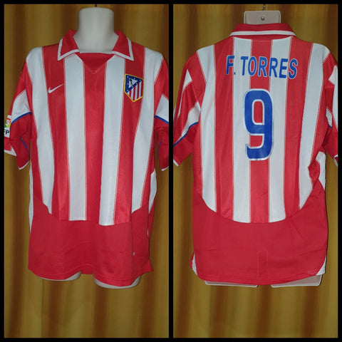 2003-04 Atletico Madrid Home Shirt Size Large - F. Torres #9