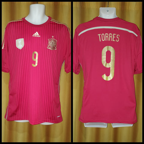 2013-15 Spain Home Shirt Size Large - Torres #9