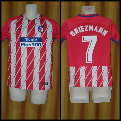 2017-18 Atletico Madrid Home Shirt Size XL Boys (13-15 Years) - Griezmann #7