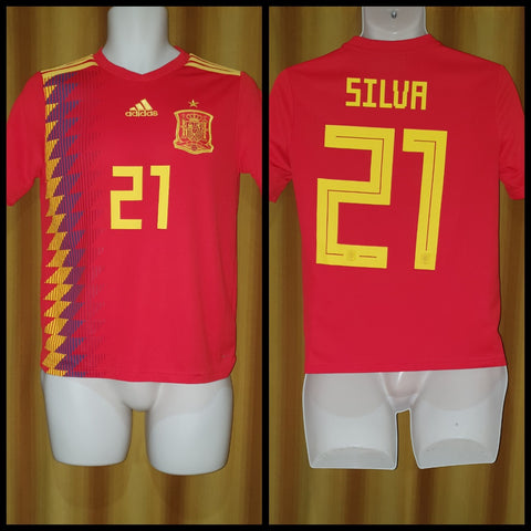 2017-19 Spain Home Shirt Size 13-14 Years - Silva #21