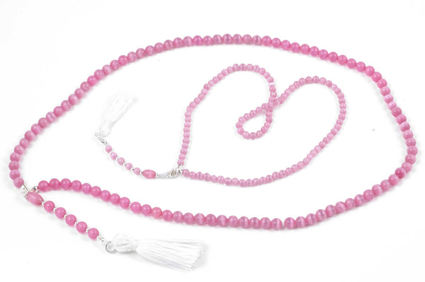 Girl & Doll Set - Pink Cat's Eye Glass Prayer Beads