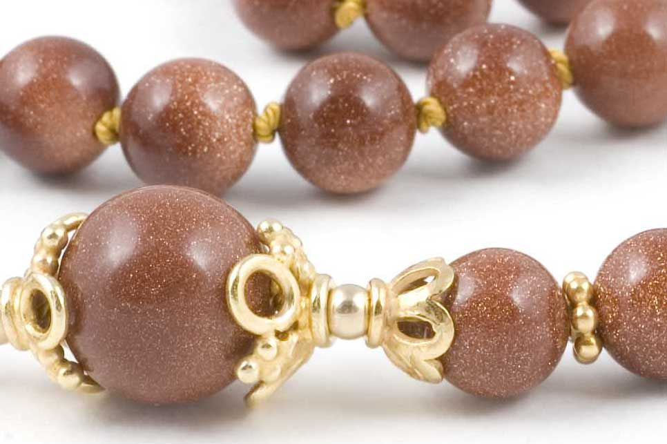 Brown Goldstone Glass Prayer Beads