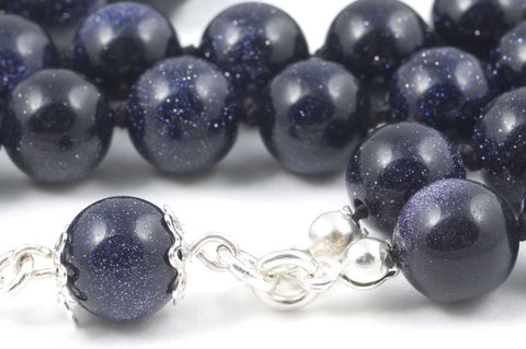 Blue Goldstone Glass Prayer Beads