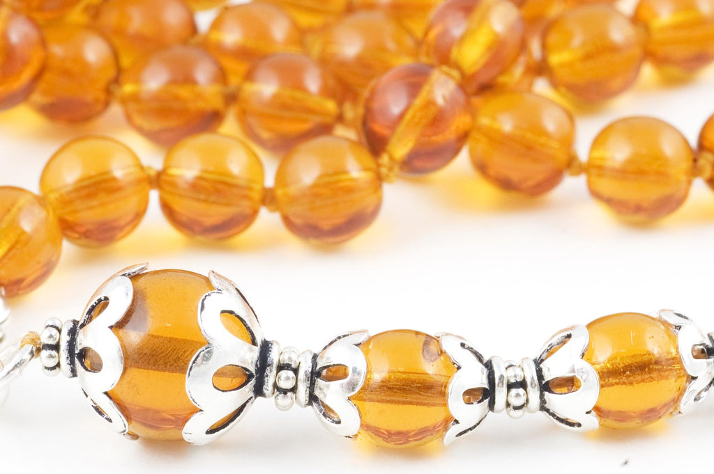 Amber Glass Prayer Beads