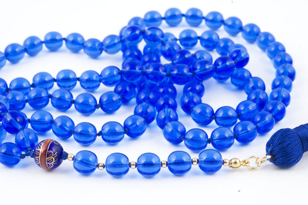 Light Cobalt Blue Glass Prayer Beads