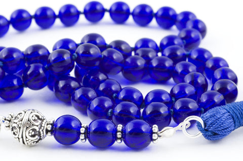 Cobalt Blue Glass Prayer Beads