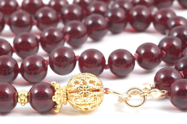 Garnet Red Glass Prayer Beads