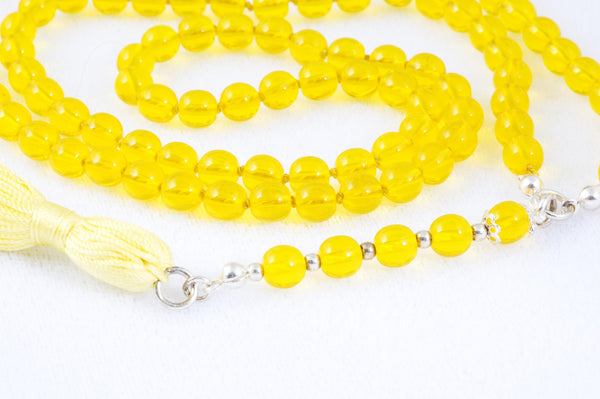 Yellow Glass Prayer Beads