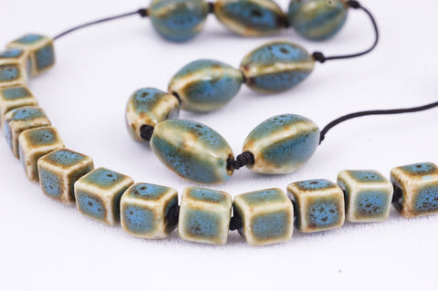 Blue Ceramic Handmade Beads (19+5)