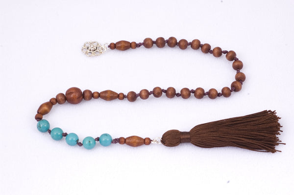 Wood and Turquoise Prayer Beads