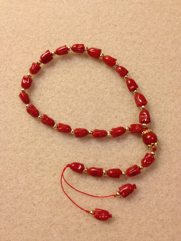 Red Bamboo Coral Prayer Beads (19+5)