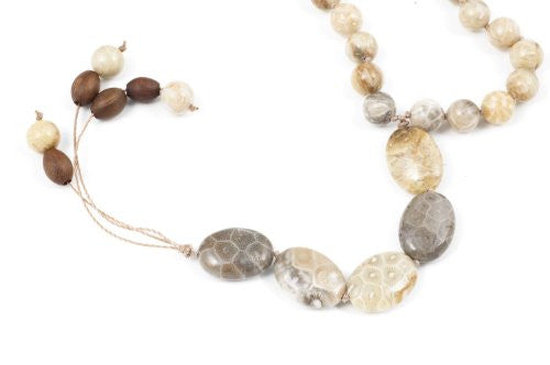 Light Brown Fossil Coral Prayer Beads