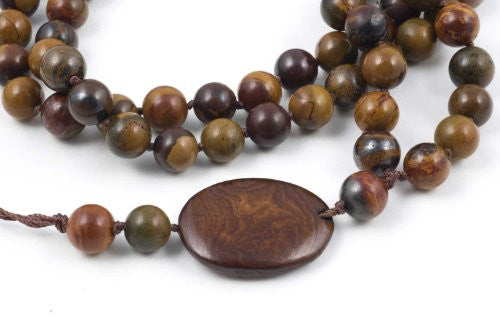 Brown Chinese Writing Stone Prayer Beads