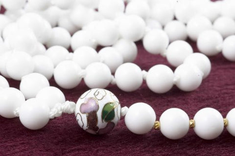 White Glass and Cloisonne Prayer Beads
