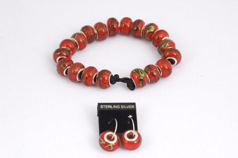 Red and Green Prayer Beads Bracelet