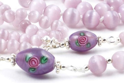 Girl & Doll Set - Lavender Glass Cat's Eye Prayer Beads