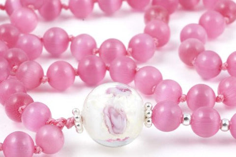 Dark Pink Cat's Eye Glass Prayer Beads