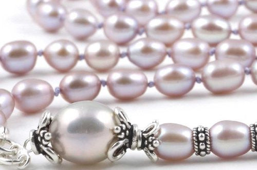 Mauve Cultured Pearl Prayer Beads