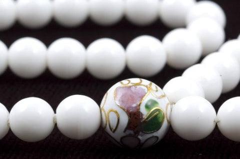 White Glass Prayer Beads