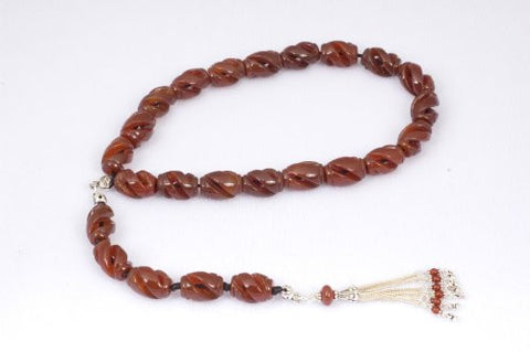 Carved Red Agate Prayer Beads (19+5)