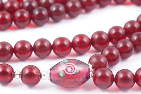 Dark Red Glass Prayer Beads