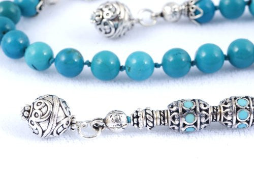 Turquoise and Handmade Sterling Silver Prayer Beads (19+5 set)