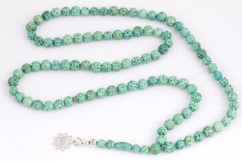 Carved Chinese Turquoise Prayer Beads