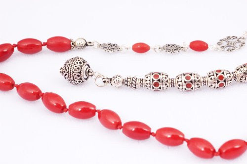 Red Bamboo Coral and Handmade Sterling Silver Prayer Beads (19+5 set)