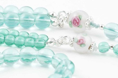 Girl & Doll Set - Green Glass Prayer Beads